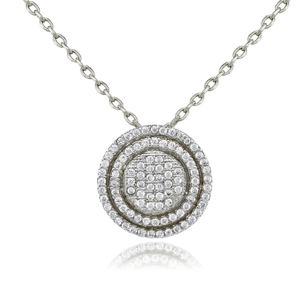 Pave Round Pendant Necklace - Love Be Jewels
