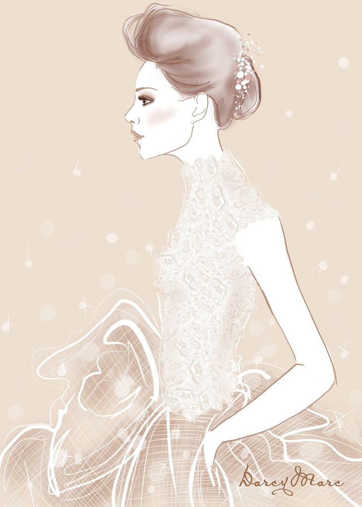 DarcyMarc Illustrated 5x7 Flat Card - Opulent Bride