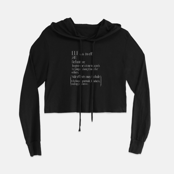 Ladies Holiday Elf Definition Cropped Hoodie