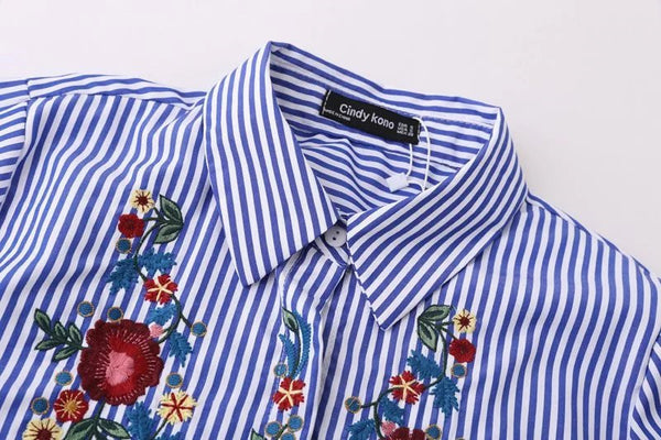 Casual Blue Striped Button Front Shirt with Floral Embroidery