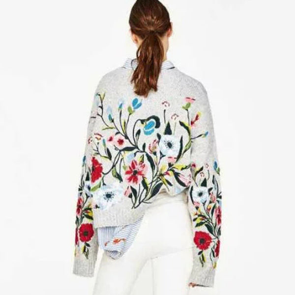 Floral Embroidery Cashmere Blend Sweater