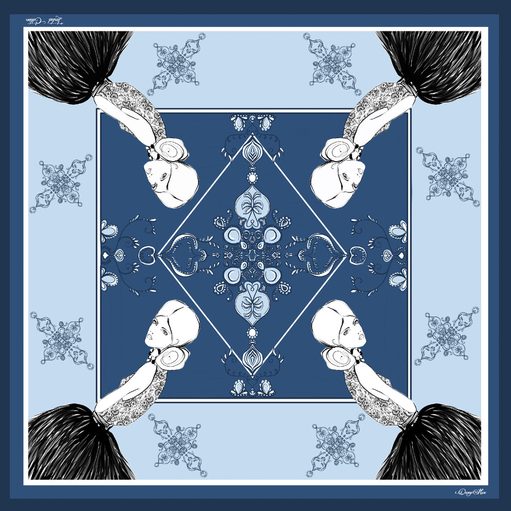 DarcyMarc Fashion Silk Habotai Scarf - Upscale Blues