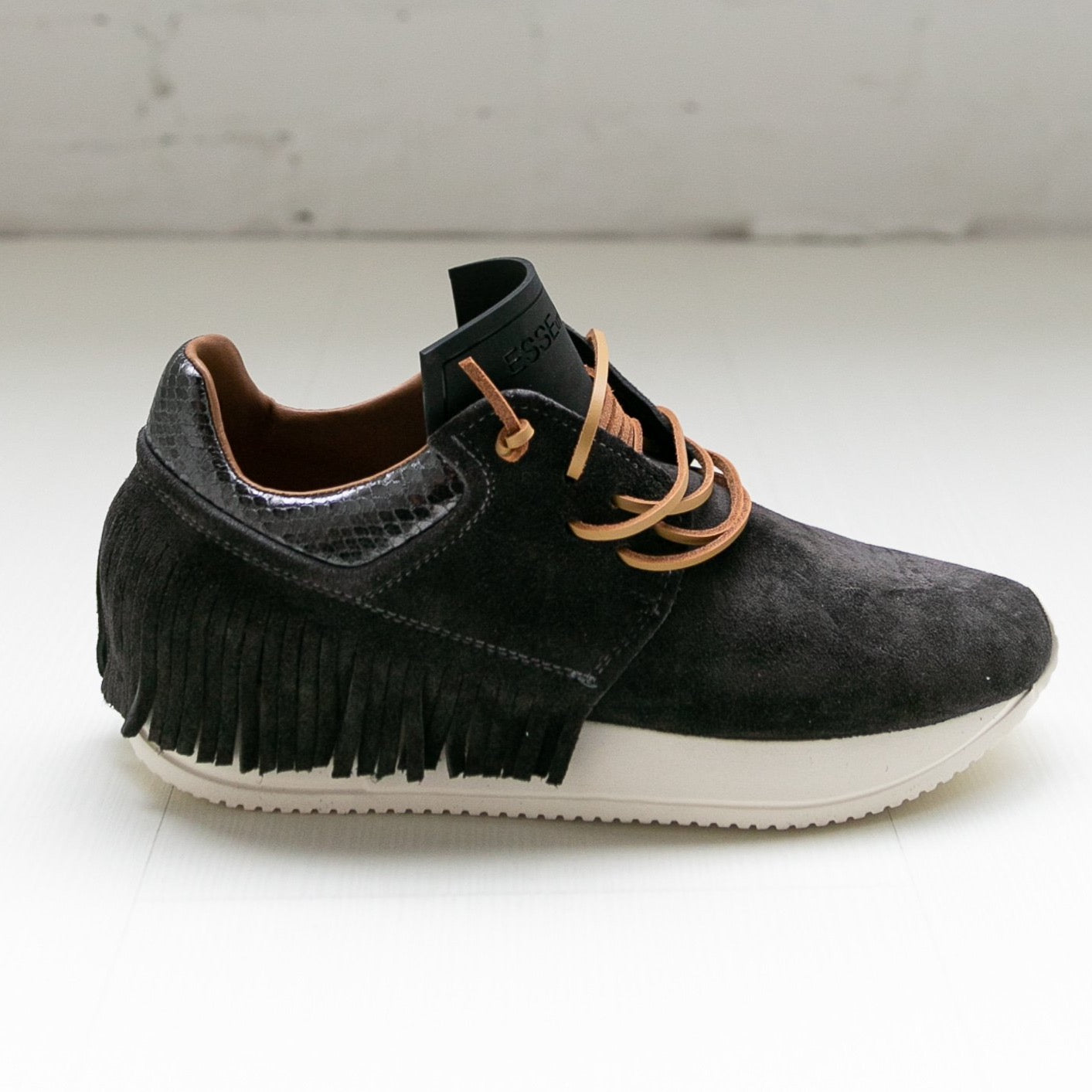 Esseutesse Charcoal Suede Fringe Sneaker