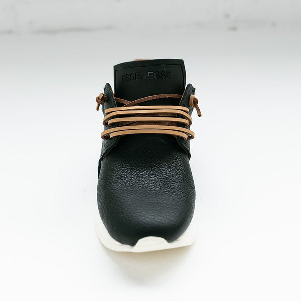 Esseutesse Black Leather Fringe Sneaker (PREORDER)