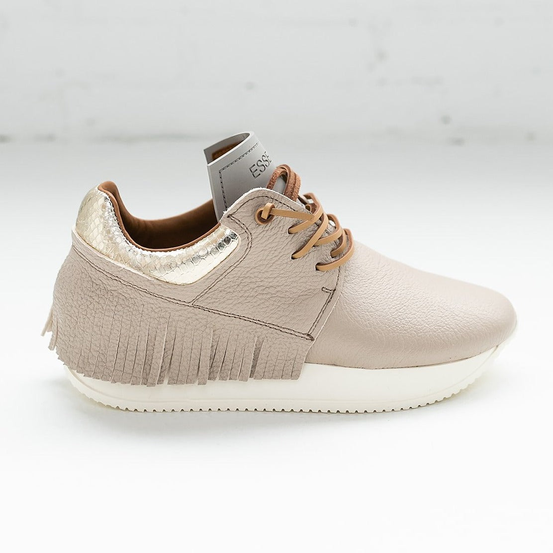 Esseutesse Sand Leather Fringe Sneaker