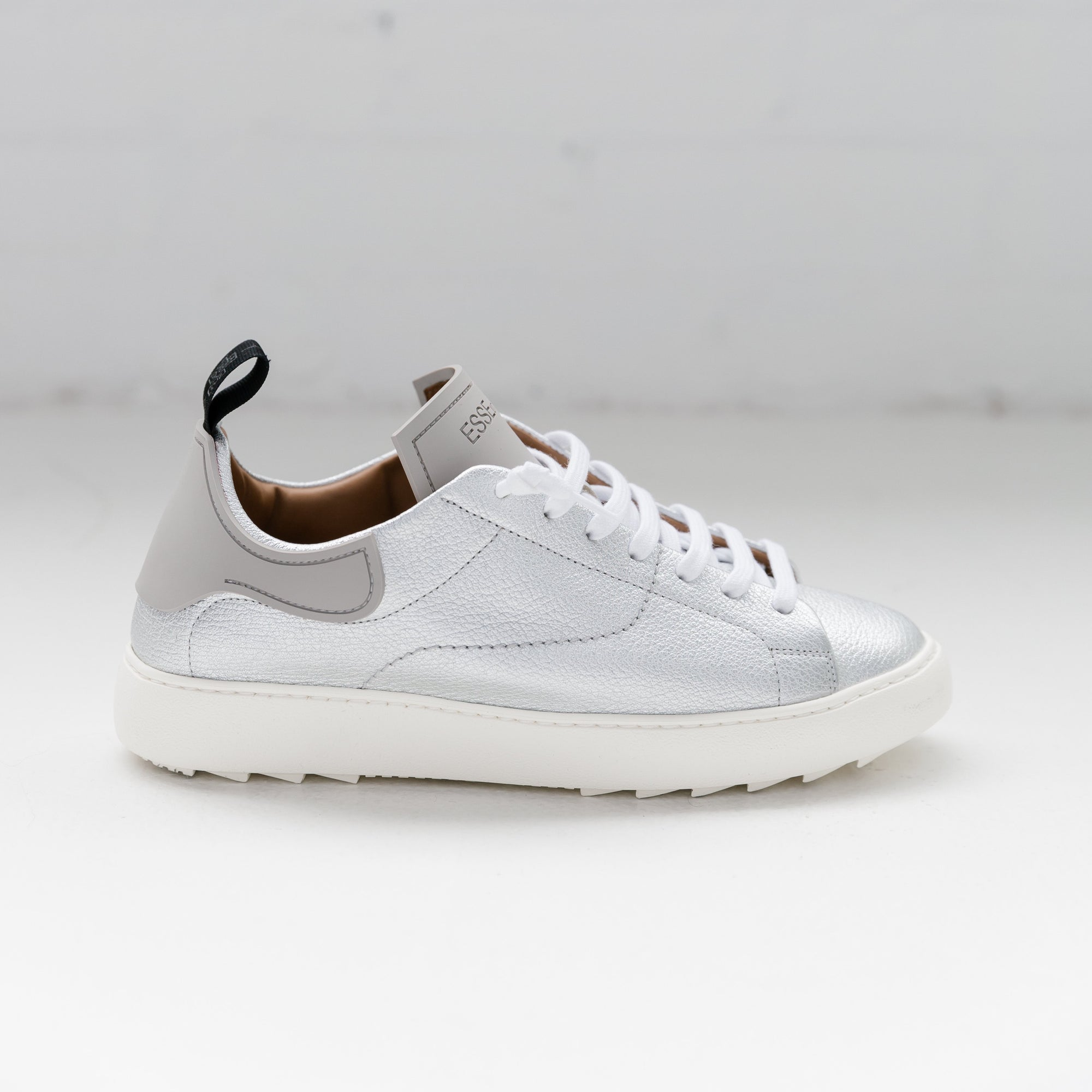 Esseutesse Silver Staple Leather Sneaker