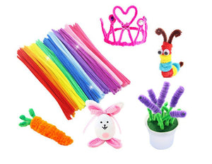 Kids DIY Craft Kit | Colorful Plush Pipe Cleaners Wool Pompoms & More | Learning Crafts for Children
