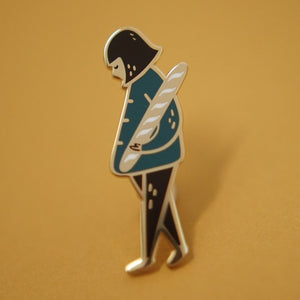 Girl And Baguette Pin