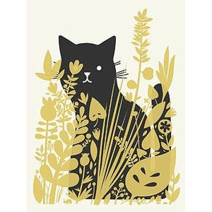 "Cat Behind Plants 8x10"" Print - World Famous Original"