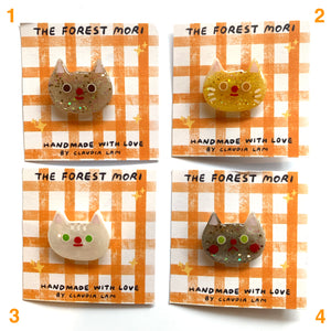 Creamy Cat Pins Glitter