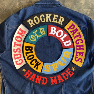 """OLD SCHOOL Top Rocker Motorcycle Jacket Back Patch Old English Large 12/"""""""