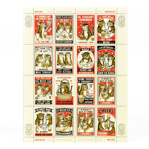 Drinking Cats Postage Stamp Print