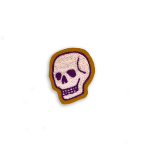 Mini Skull - Purple/White on Antique Gold
