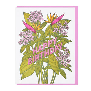 Tropical Flowers Birthday Card - World Famous Original
