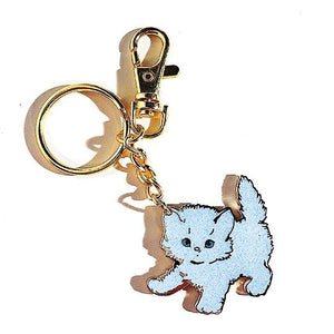 White Sparkly Kitty Keychain - World Famous Original