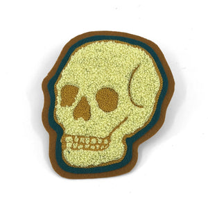 Yellow/Teal Skull - Chenille & Chainstitch Patch - World Famous Original