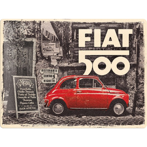 Fiat 500 - Red Car in the Street - Skilti