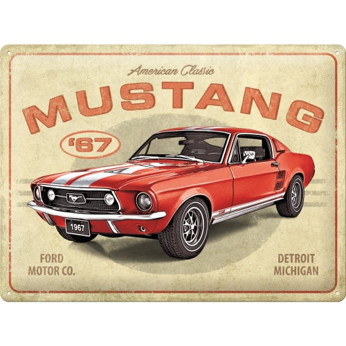 Ford Mustang GT 1967 RED - skilti