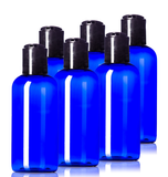 4oz Plastic Blue Bottles (6 Pack) BPA-Free Squeeze Containers with Disc Cap