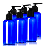 4oz Plastic Blue Bottles (6 Pack) BPA-Free Squeeze Containers with Pump Cap