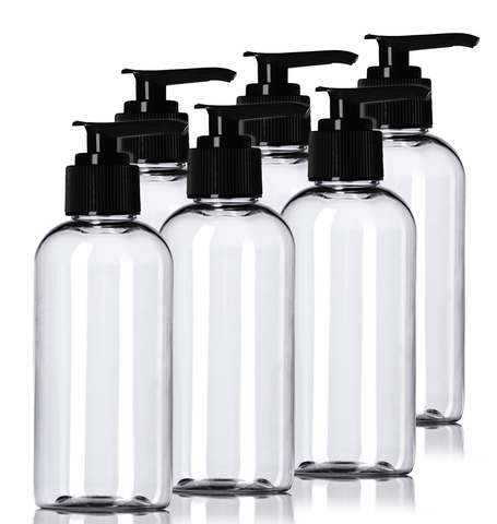 4oz Plastic Clear Bottles (6 Pack) BPA-Free Squeeze Containers with Pump Cap