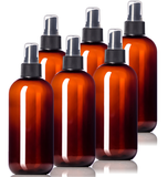 8oz Plastic Amber Bottles (6 Pack) BPA-Free Squeeze Containers with Spray Mist Caps