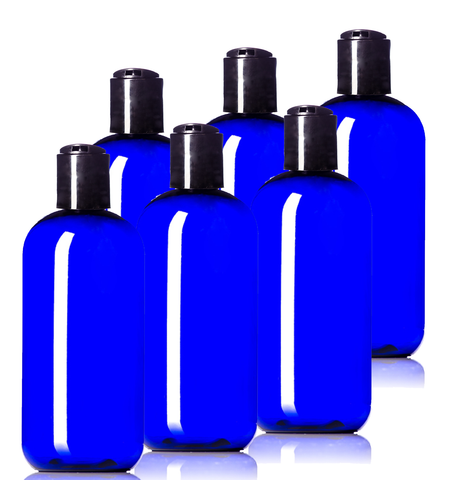 8oz Plastic Blue Bottles (6 Pack) BPA-Free Squeeze Containers with Disc Cap