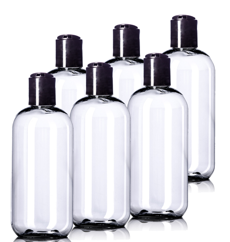 8oz Plastic Clear Bottles (6 Pack) BPA-Free Squeeze Containers with Disc Cap