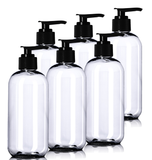 8oz Plastic Clear Bottles (6 Pack) BPA-Free Squeeze Containers with Pump Cap