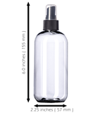 8oz Plastic Clear Bottles (6 Pack) BPA-Free Squeeze Containers with Spray Mist Caps