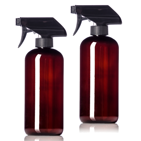 16oz Amber Plastic Bottles with Black Trigger Sprayers, BPA Free PET Plastic (2 Pack)