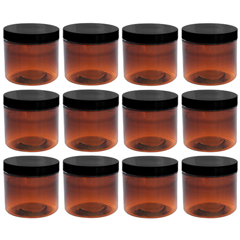 8oz Amber Plastic Jars with Blank Labels (BPA Free PET Plastic) (12 Count)
