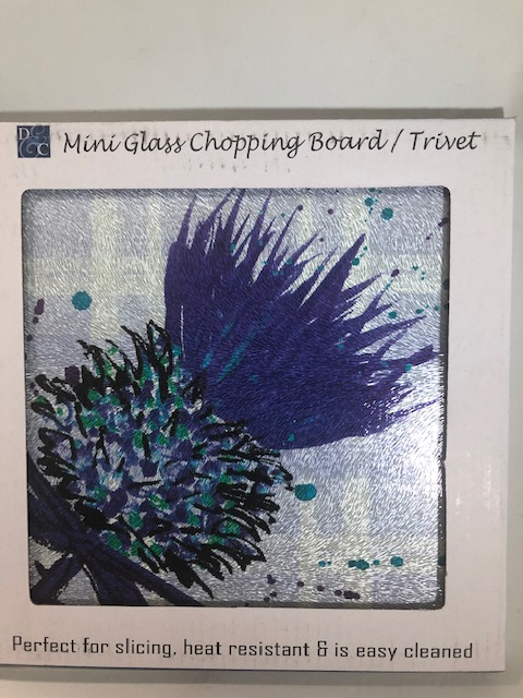 Scottish Thistle Glass Chopping Board/Trivet