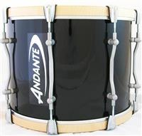 Andante 14 x12 PRO Tenor Drum - Black with Silver Powder Coat Metalwork