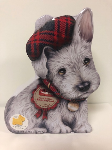 Scottish White Wee Scottie Dog Tin Walkers Shortbread