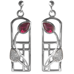 "Charles Rennie Mackintosh earrings ""Ruby"""