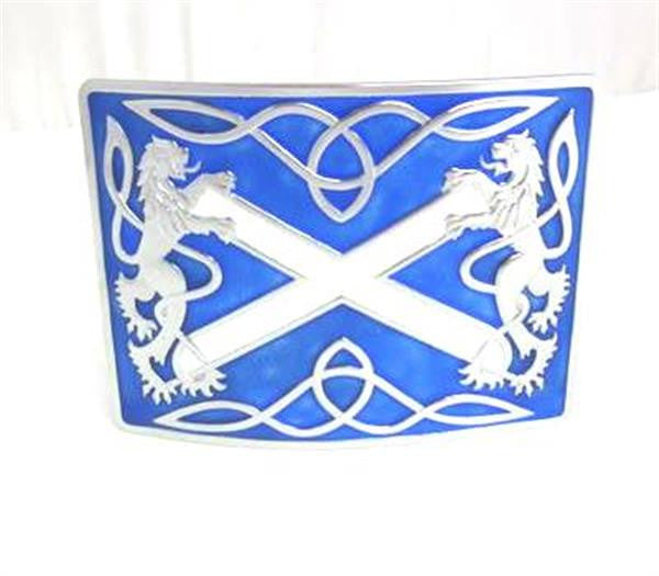 Glen Esk Highland Saltire Blue Enamel Buckle – Antique