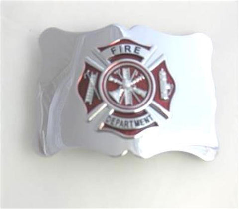 Red Fire Department Badge Buckle
