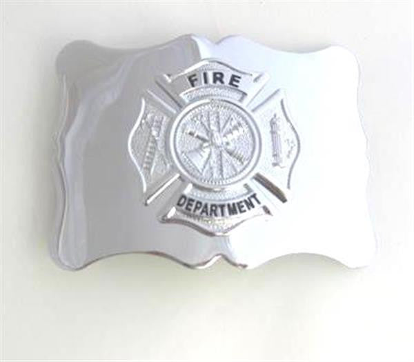 Chrome Fire Department Badge Buckle