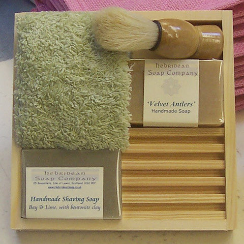 Gentleman's Pine-Boxed Shaving Soap Set