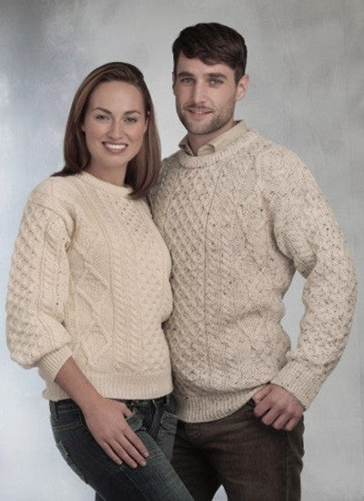 Aran Sweater Knitted in 100% Pure New Wool