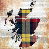 Scotland Map on Plain Background Or Declaration Of Arbroath with Tartan behind