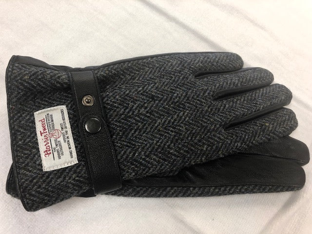 Harris Tweed/Leather Scottish  Mens Gloves