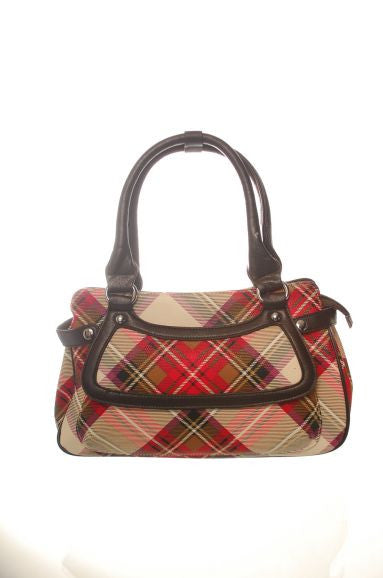 Ladies Vinyl Tartan Handbag, Stewart Dress Red