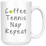 Coffee Tennis Nap Repeat Large 15oz Coffee Mug