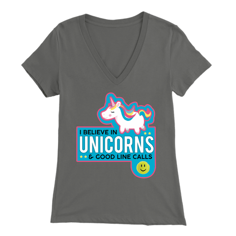 I Believe In Unicorns and Good Line Calls - Bella Womens V-Neck