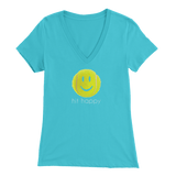 Hit Happy - Bella Womens V-Neck Tennis T-Shirt