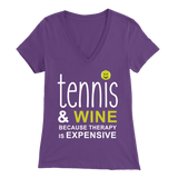 Tennis and Wine - Bella Womens V-Neck T-Shirt