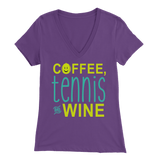 COFFEE TENNIS AND WINE WOMENS BELLA V-NECK