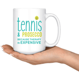 Tennis and Prosecco - Large 15oz Coffee Mug